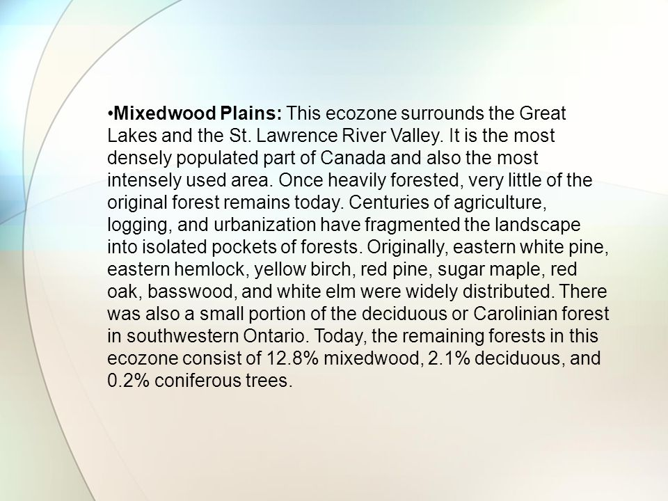 Mixedwood Plains: This ecozone surrounds the Great Lakes and the St