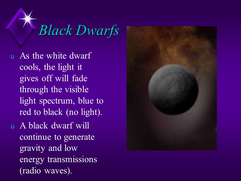 Black Dwarfs As the white dwarf cools, the light it gives off will fade through the visible light spectrum, blue to red to black (no light).