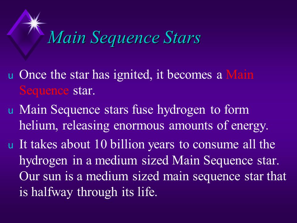 Main Sequence Stars Once the star has ignited, it becomes a Main Sequence star.