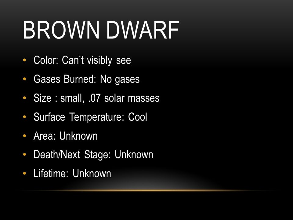 Brown Dwarf Color: Can't visibly see Gases Burned: No gases