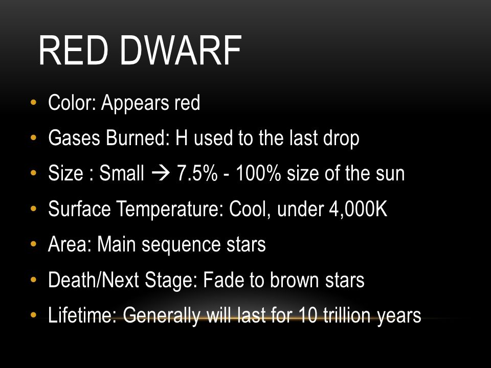 Red Dwarf Color: Appears red Gases Burned: H used to the last drop