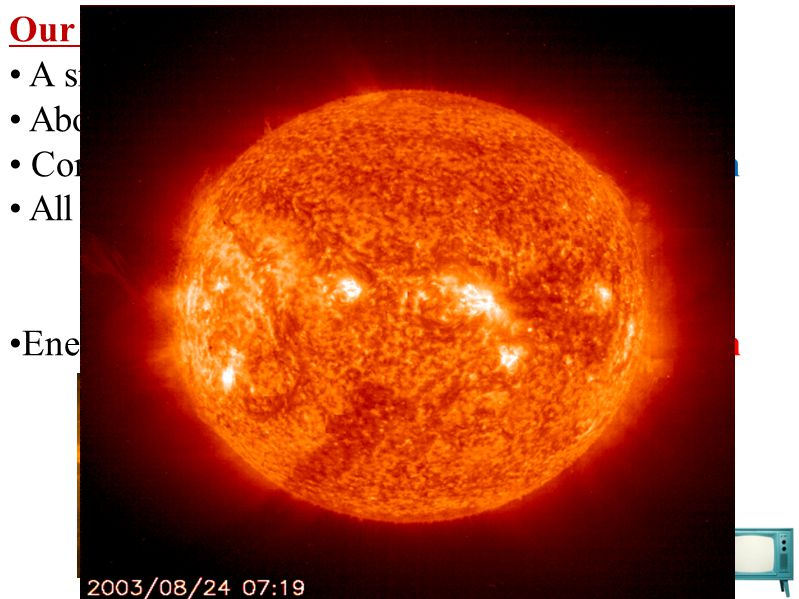 Our Sun A small star. About 5 billion years old (should last 5 more) Composed of 75% hydrogen and 25% helium.