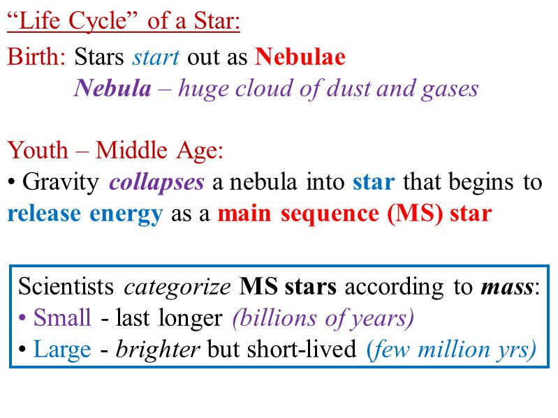 Life Cycle of a Star: Birth: Stars start out as Nebulae. Nebula – huge cloud of dust and gases. Youth – Middle Age: