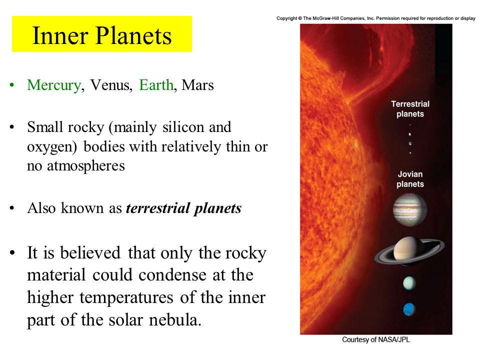 Inner Planets Mercury, Venus, Earth, Mars. Small rocky (mainly silicon and oxygen) bodies with relatively thin or no atmospheres.
