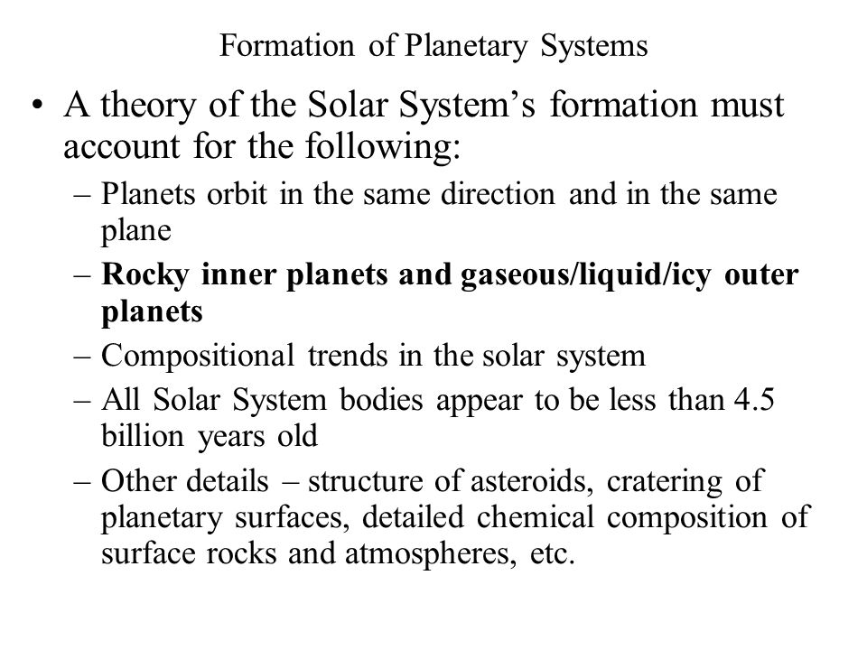 Formation of Planetary Systems