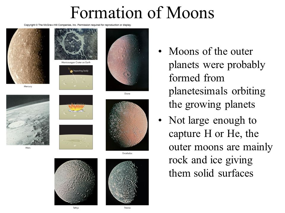Formation of Moons Moons of the outer planets were probably formed from planetesimals orbiting the growing planets.