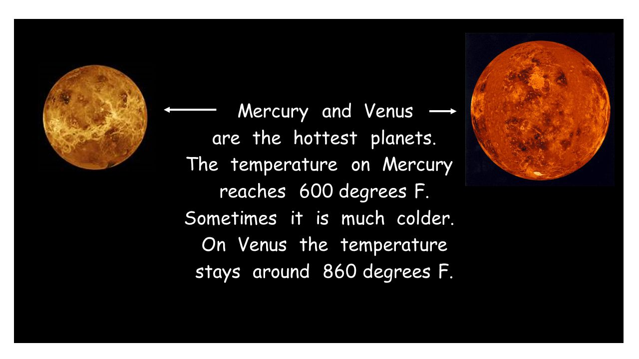 Mercury and Venus are the hottest planets