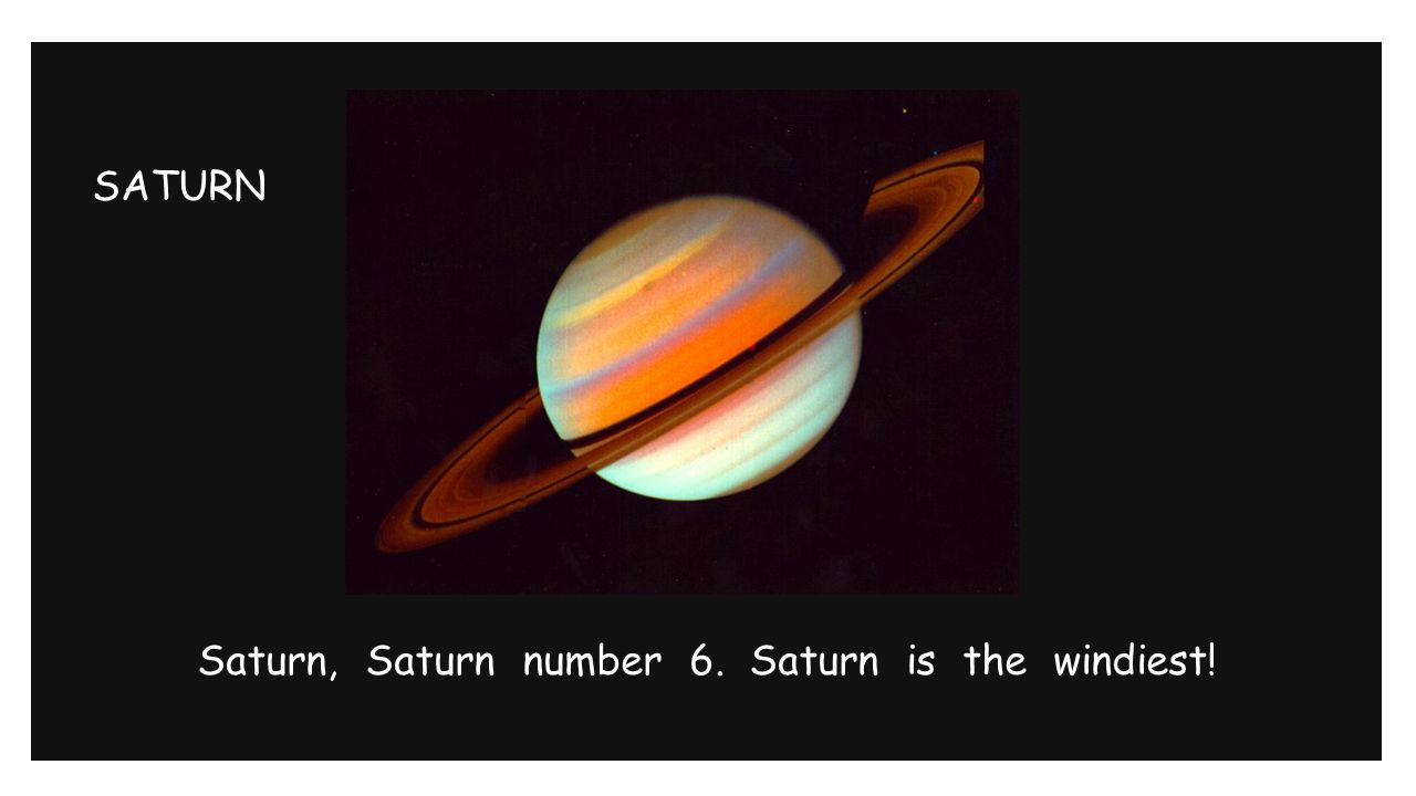 SATURN Saturn, Saturn number 6. Saturn is the windiest!