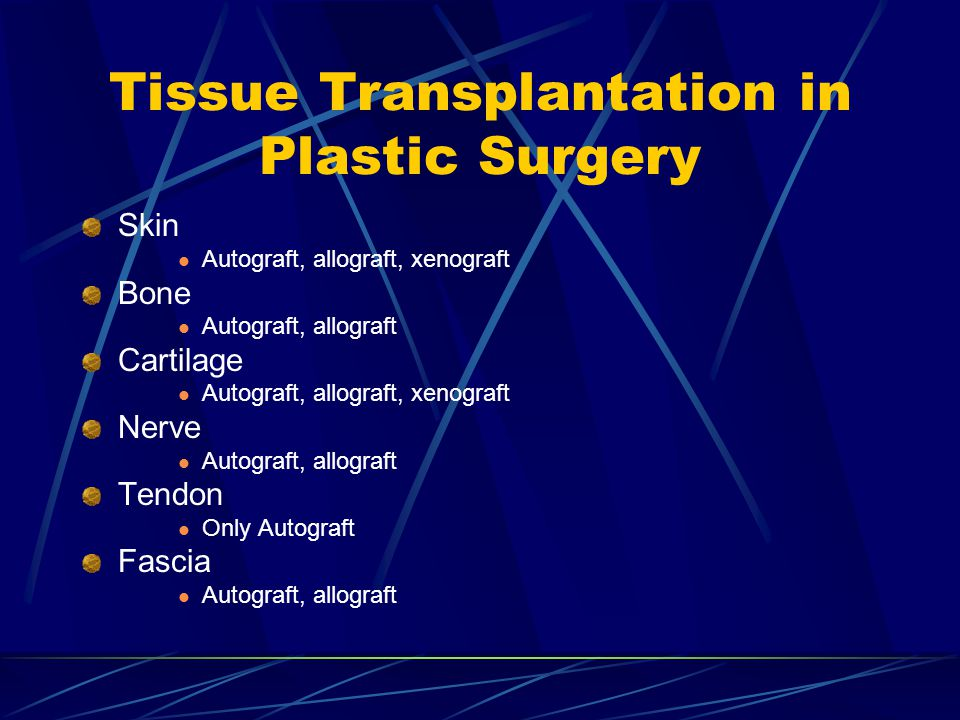 Tissue Transplantation in Plastic Surgery