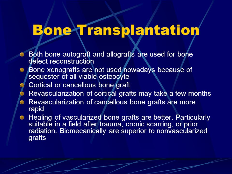 Bone Transplantation Both bone autograft and allografts are used for bone defect reconstruction.