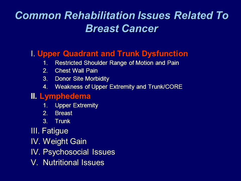 Common Rehabilitation Issues Related To Breast Cancer