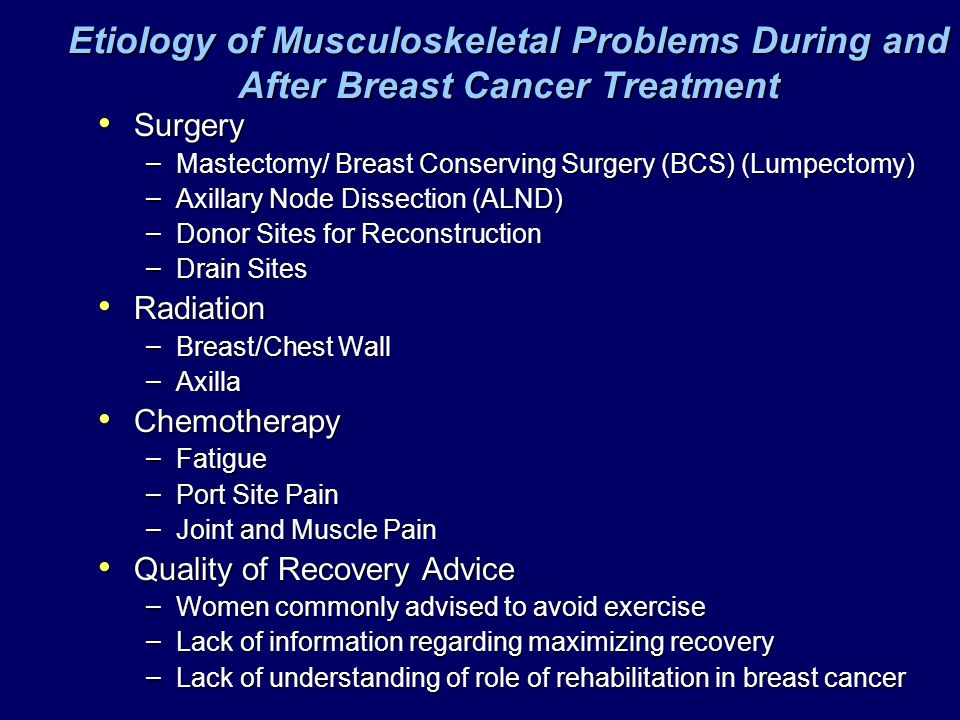 Etiology of Musculoskeletal Problems During and After Breast Cancer Treatment