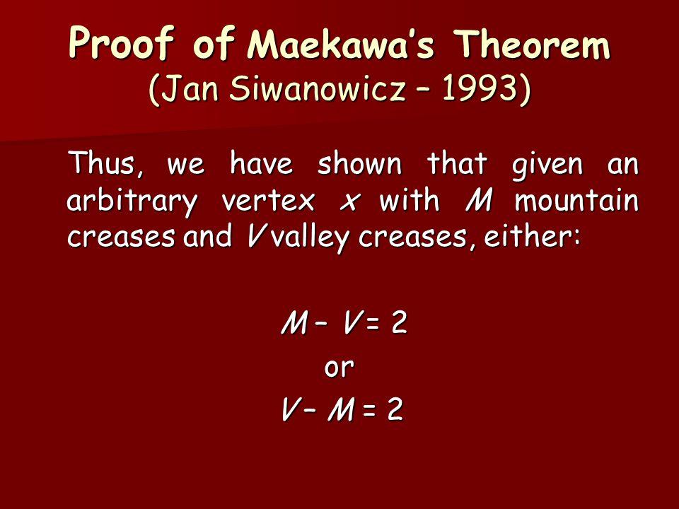 Proof of Maekawa's Theorem (Jan Siwanowicz – 1993)