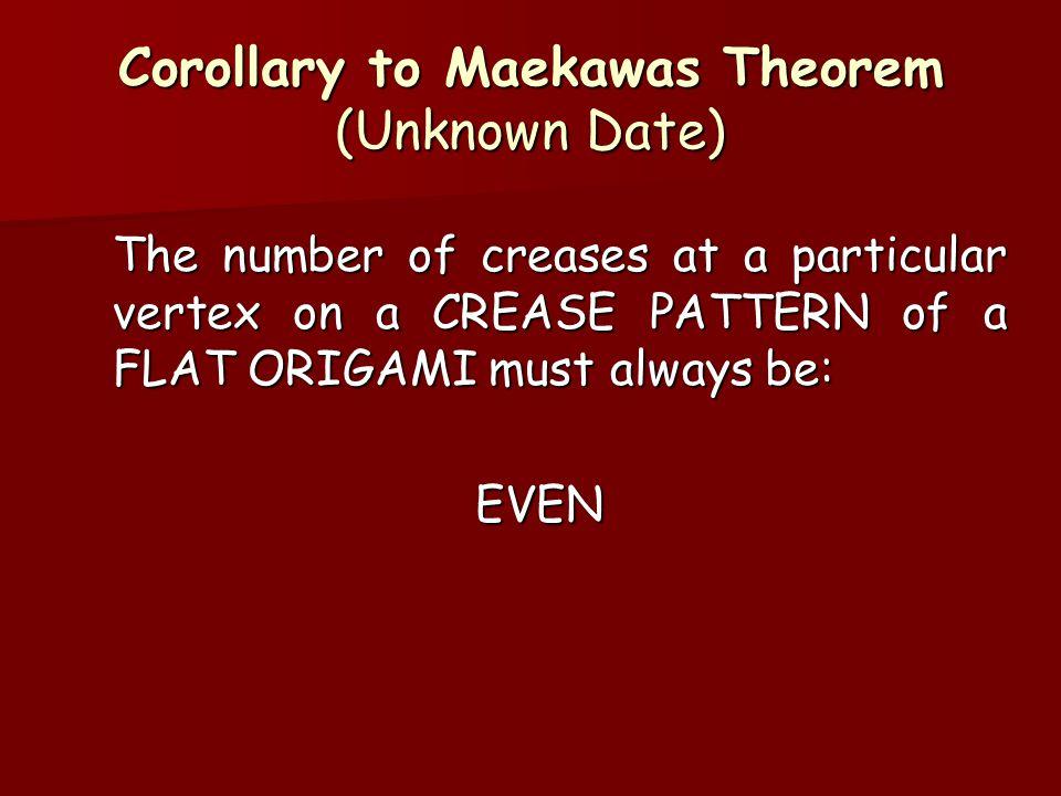 Corollary to Maekawas Theorem (Unknown Date)
