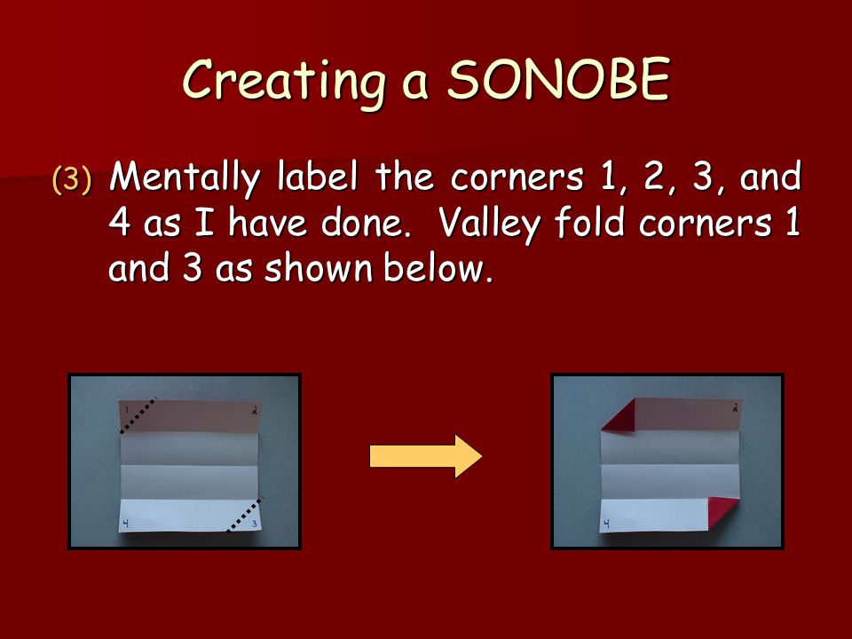 Creating a SONOBE Mentally label the corners 1, 2, 3, and 4 as I have done.