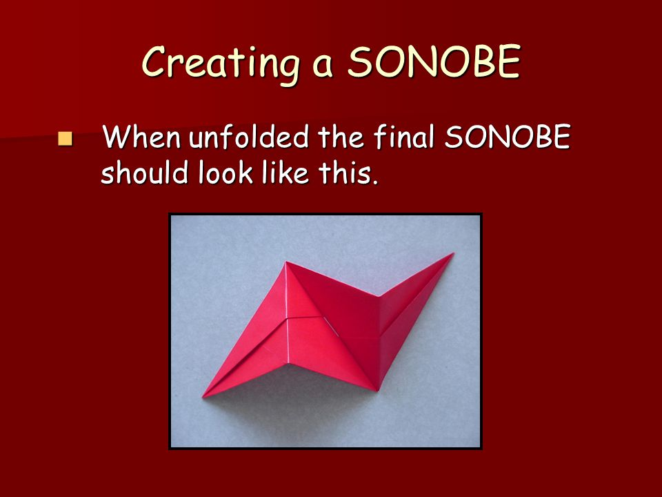 Creating a SONOBE When unfolded the final SONOBE should look like this.