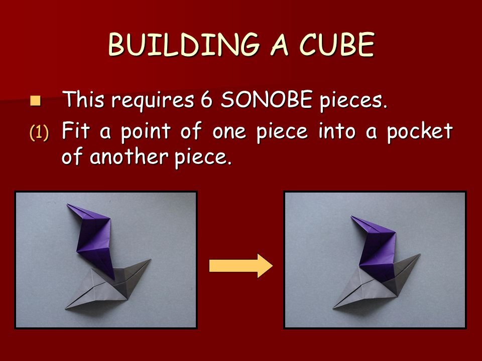 BUILDING A CUBE This requires 6 SONOBE pieces.