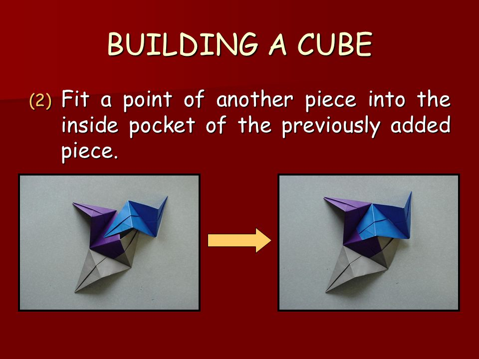 BUILDING A CUBE Fit a point of another piece into the inside pocket of the previously added piece.