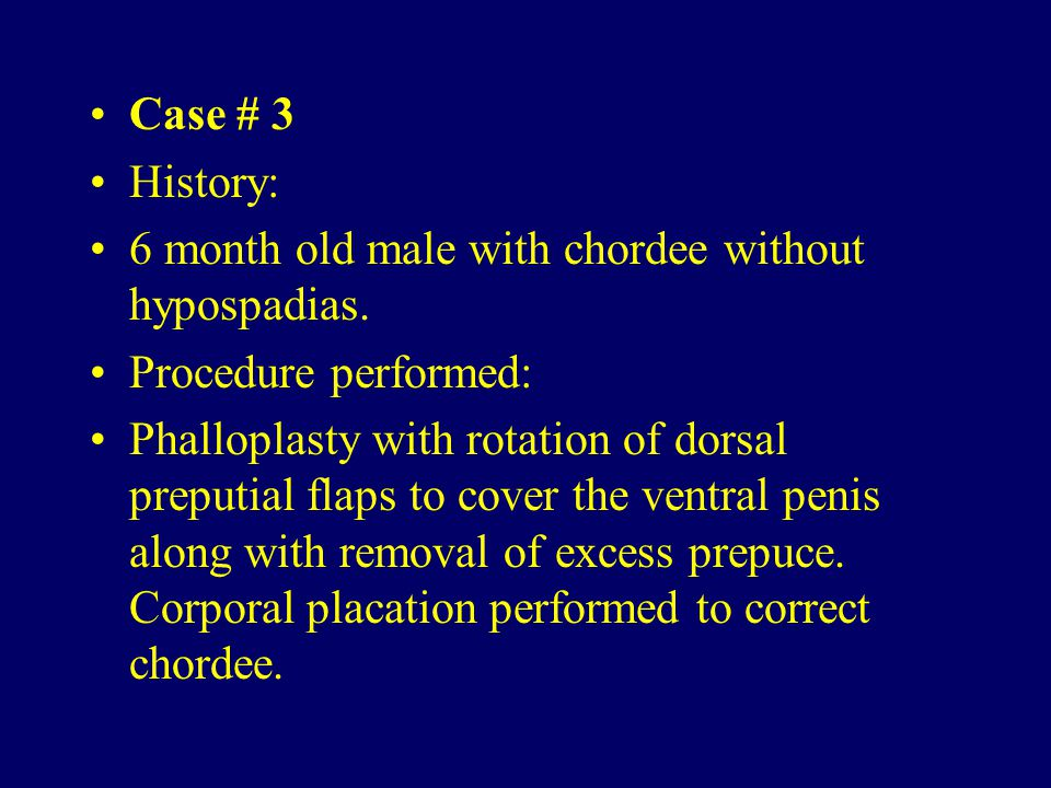 Case # 3 History: 6 month old male with chordee without hypospadias. Procedure performed: