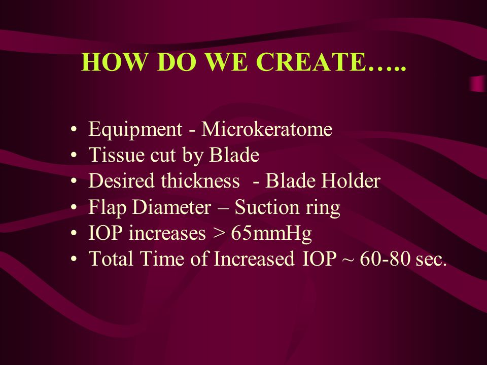HOW DO WE CREATE….. Equipment - Microkeratome Tissue cut by Blade