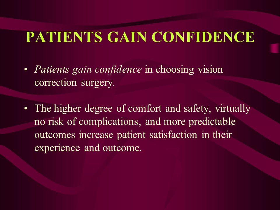 PATIENTS GAIN CONFIDENCE