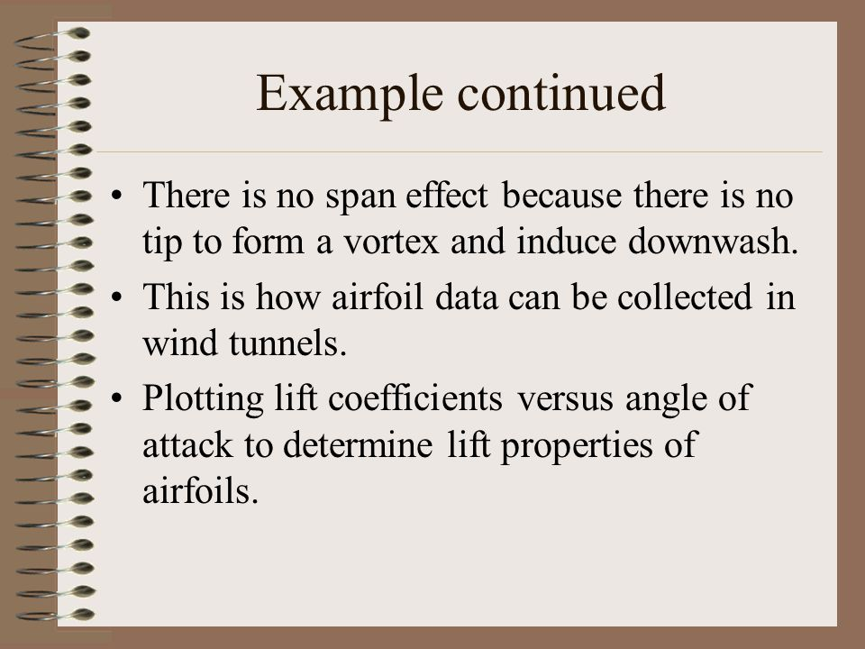 Example continued There is no span effect because there is no tip to form a vortex and induce downwash.