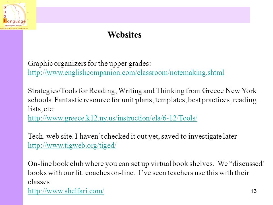 Websites Graphic organizers for the upper grades:
