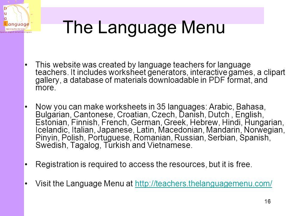 The Language Menu