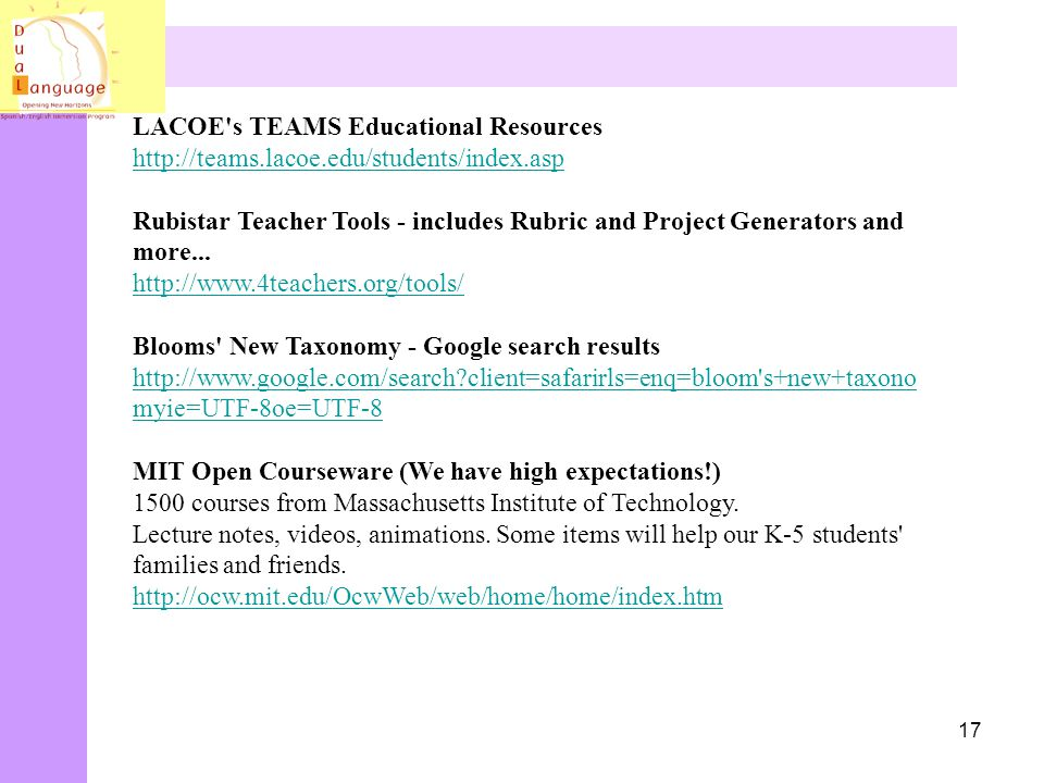 LACOE s TEAMS Educational Resources http://teams. lacoe