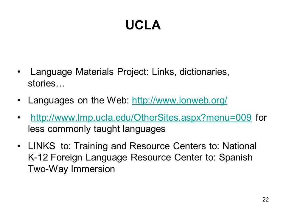 UCLA Language Materials Project: Links, dictionaries, stories…