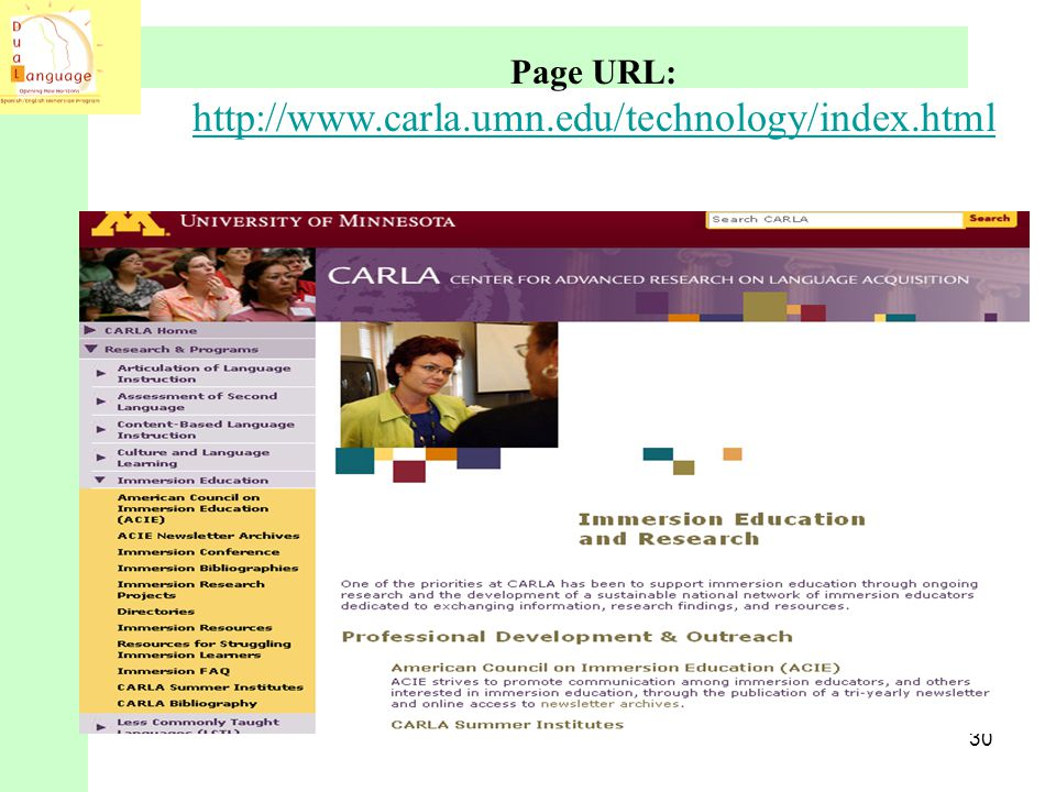 Page URL: http://www.carla.umn.edu/technology/index.html