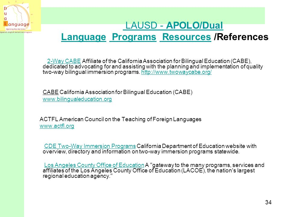 LAUSD - APOLO/Dual Language Programs Resources /References