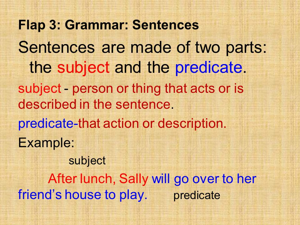 Sentences are made of two parts: the subject and the predicate.