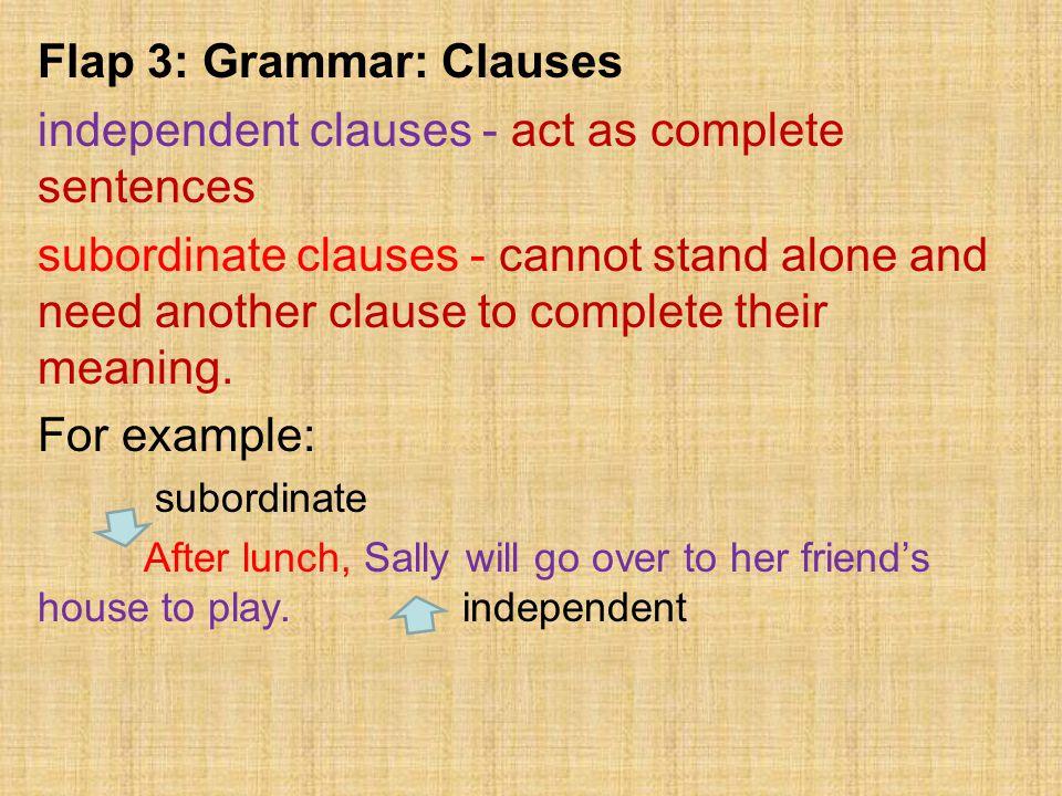 Flap 3: Grammar: Clauses