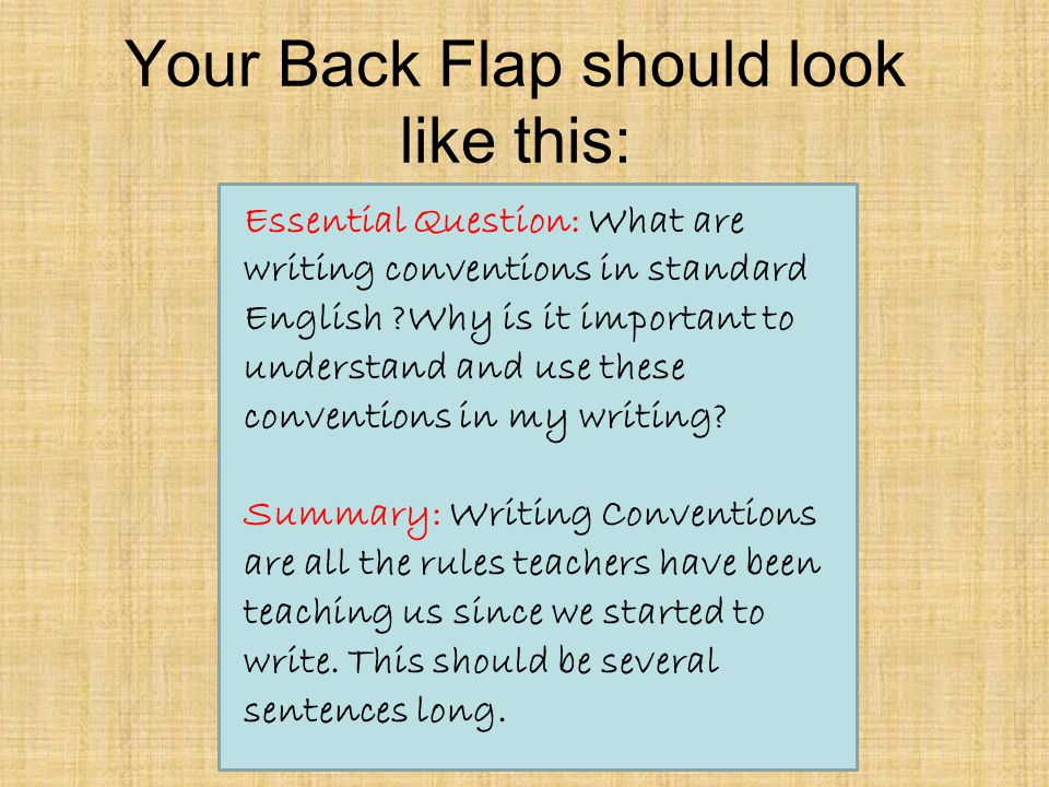 Your Back Flap should look like this: