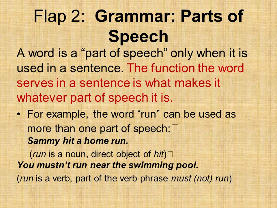 Flap 2: Grammar: Parts of Speech