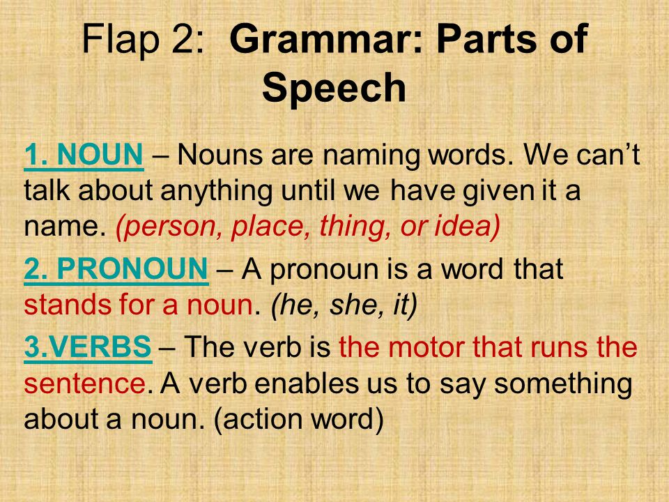 Flap 2: Grammar: Parts of Speech