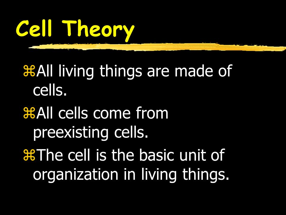 Cell Theory All living things are made of cells.