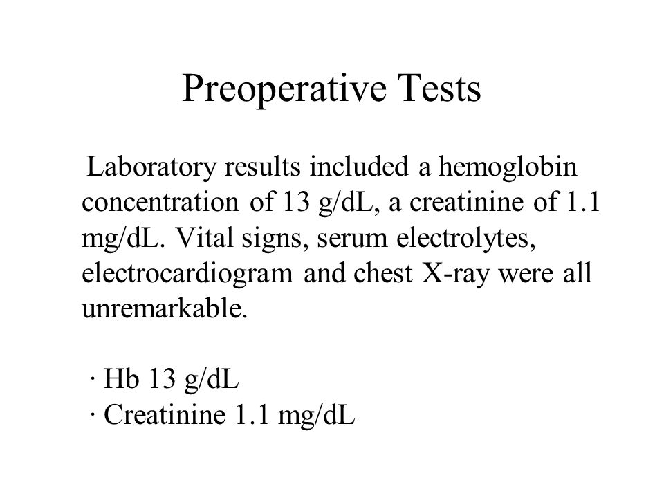 Preoperative Tests