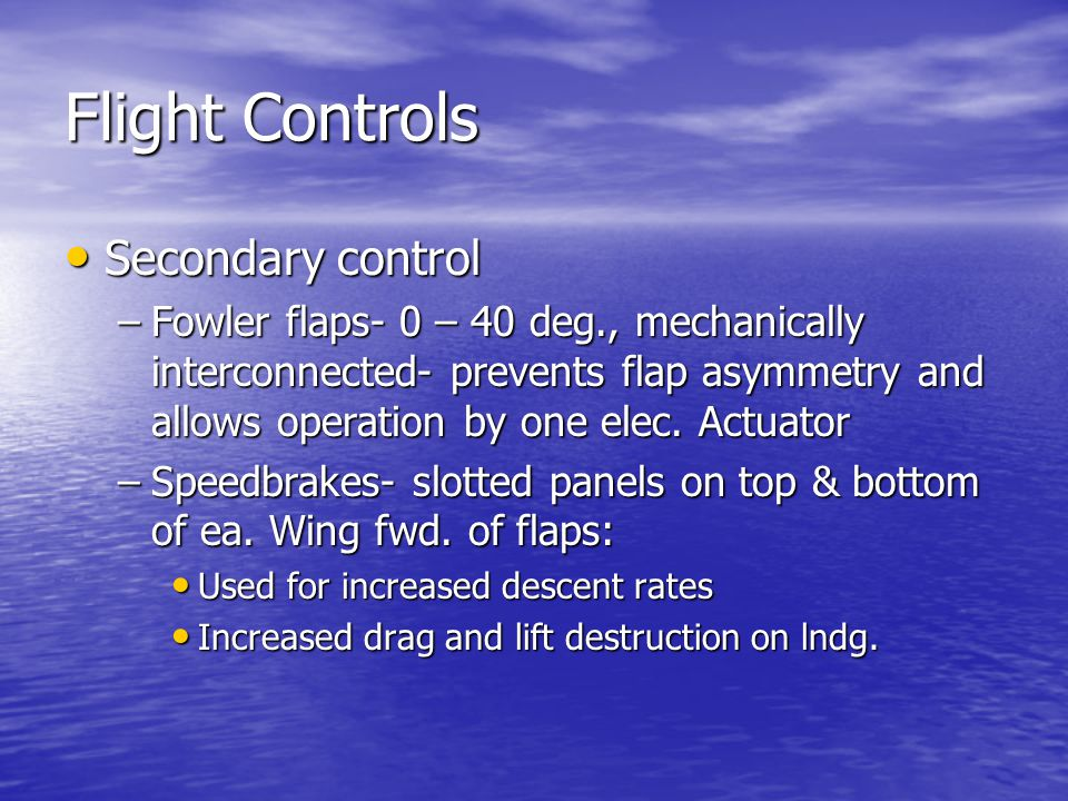 Flight Controls Secondary control