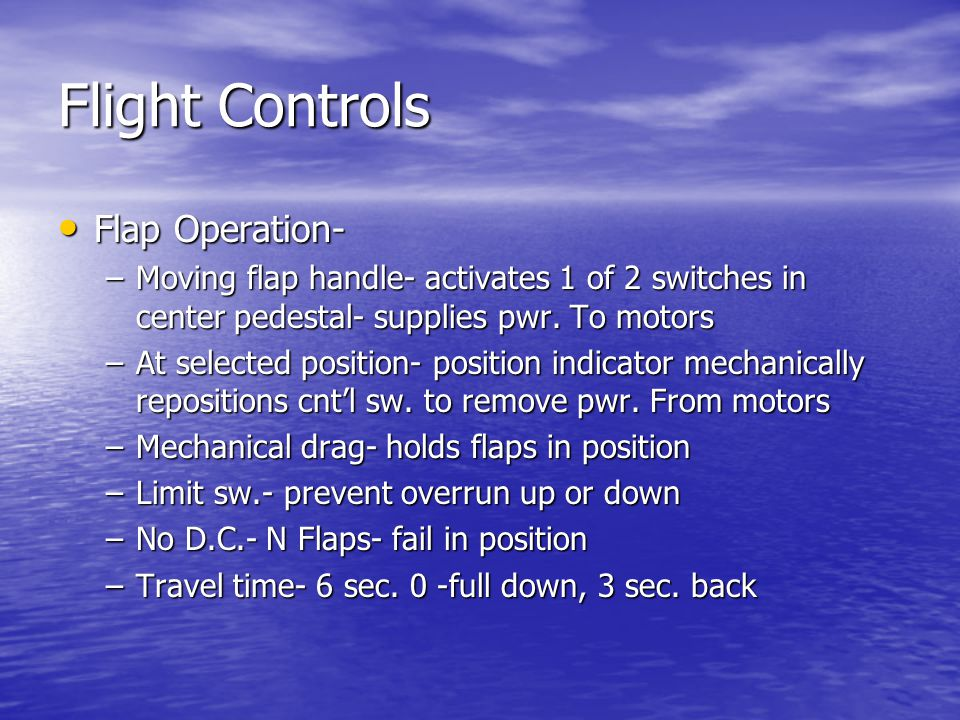 Flight Controls Flap Operation-
