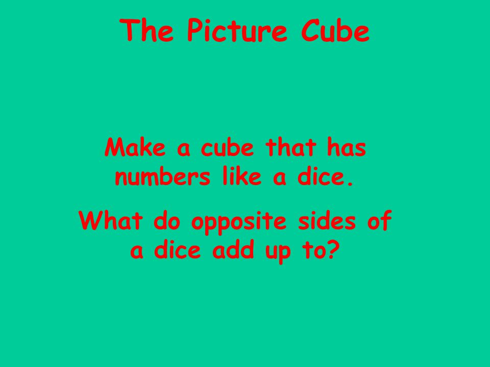 The Picture Cube Make a cube that has numbers like a dice.