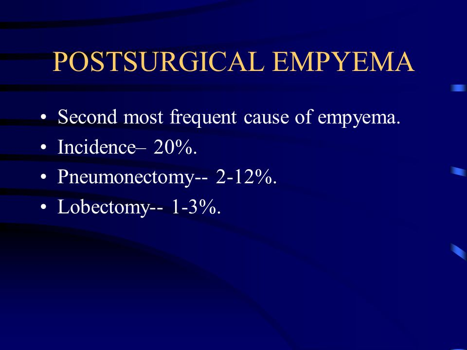 POSTSURGICAL EMPYEMA Second most frequent cause of empyema.