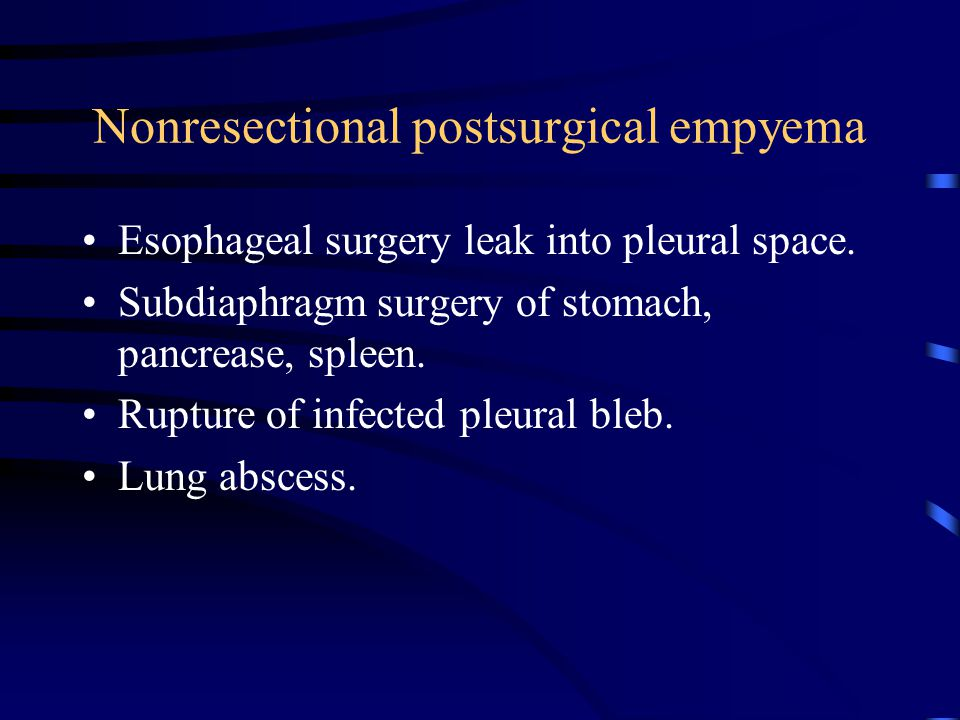 Nonresectional postsurgical empyema