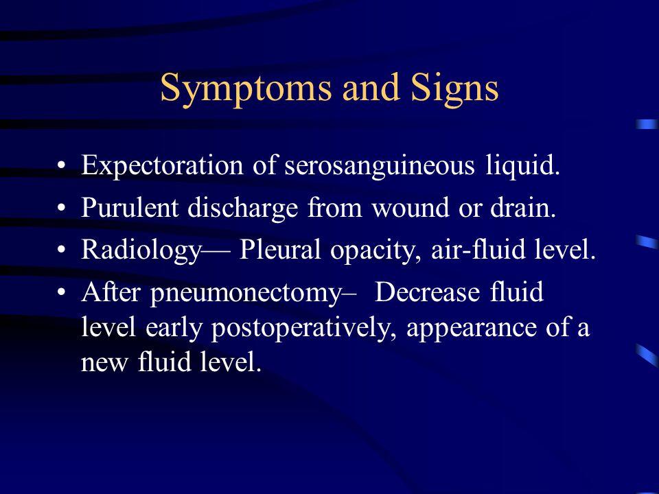Symptoms and Signs Expectoration of serosanguineous liquid.