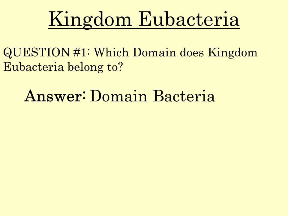 Kingdom Eubacteria Answer: Domain Bacteria