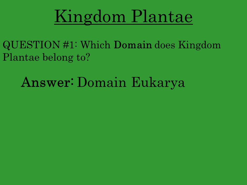 Kingdom Plantae Answer: Domain Eukarya