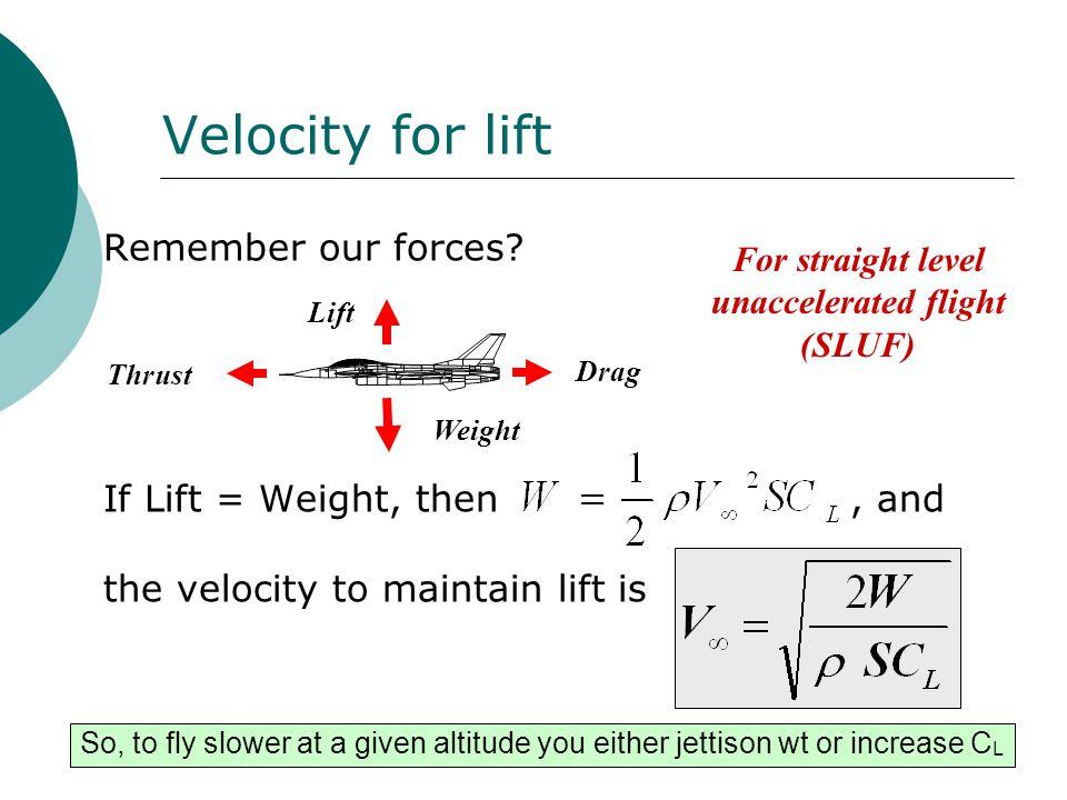For straight level unaccelerated flight (SLUF)