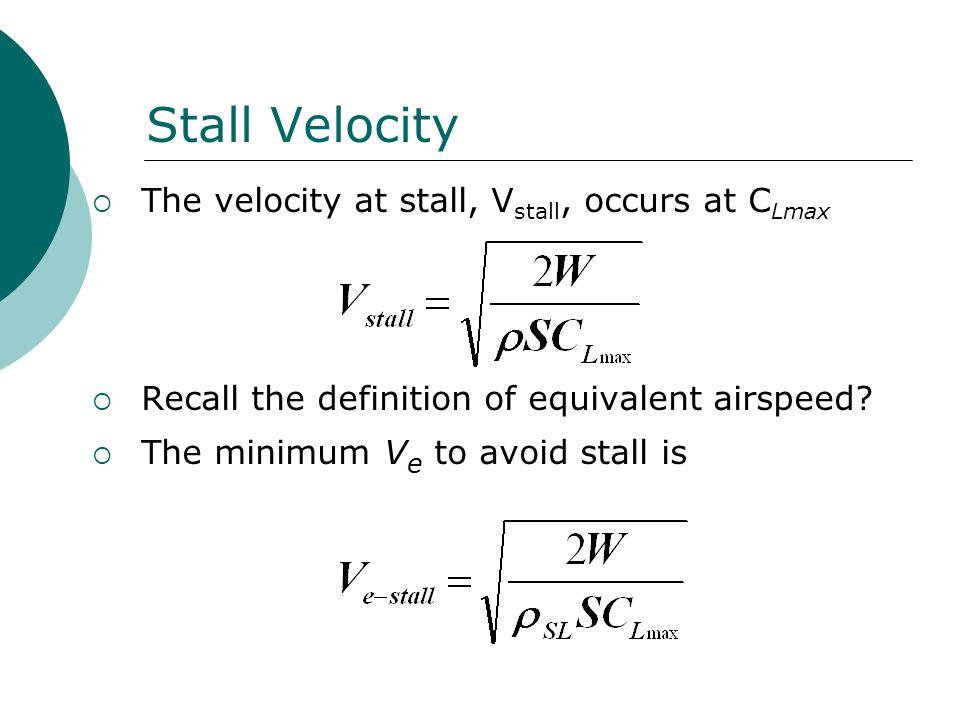 Stall Velocity The velocity at stall, Vstall, occurs at CLmax