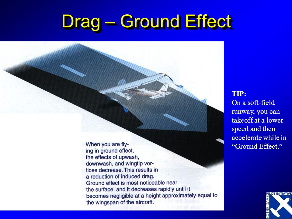 Drag – Ground Effect TIP: On a soft-field runway, you can takeoff at a lower speed and then accelerate while in Ground Effect.